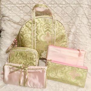Handbags - Pink & Green Silk Brocade 5 Piece Bag Set NWOT